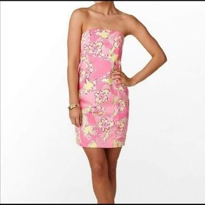 Lilly Pulitzer Pink Floral Strapless Dress
